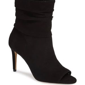 VINCE CAMUTO Suede Leather Open Toe Ruched Booties
